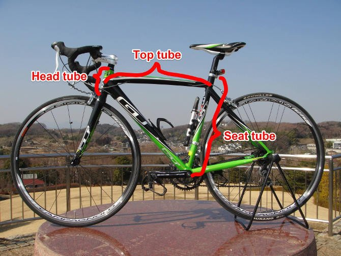 Road/Triathlon bike head tube top tube and seat tube